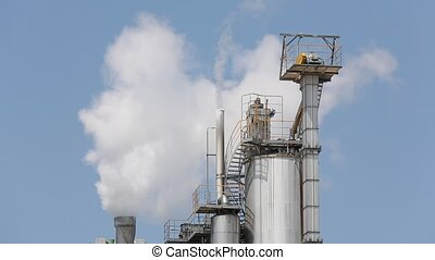 Industrial plant - Industrial refinery plant with smoke...