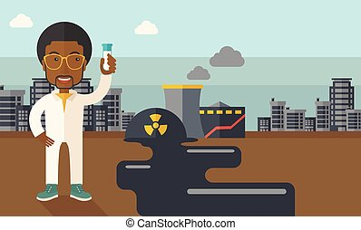 African Scientist with mask and test tube. - An african...