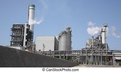 refinery plant  - Industrial refinery plant with smoke stack