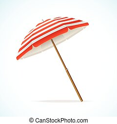 Vector Beach Umbrella Red and White - Vector illustration...