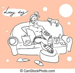 Pretty woman on a sofa, Hand drawn girl with cat, relaxing,...