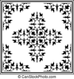 Ornament border design elements with corners - set of...