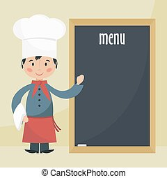 chef cook with menu.