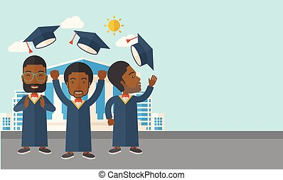 Three men throwing graduation cap. - A smiling three men...