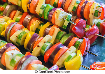 Barbecue Grill cooking vegetable. background eat Restaurant