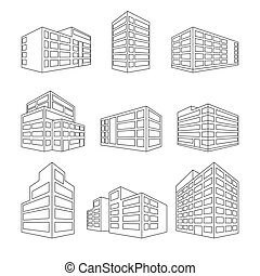 Dimensional building as a design web icons - Linesymbol