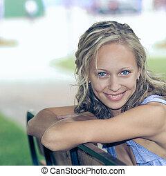 retrato, de, lindo, hermoso, natural, positivo, girl.,...