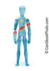 Wood figure mannequin with flag bodypaint - Congo - Wood...