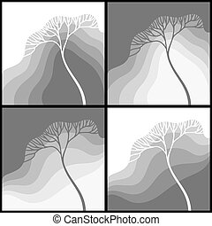 Set of illustrations with stylized tree