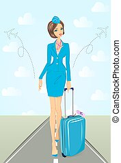 Smiling flight attendant in blue uniform with suitcase -...