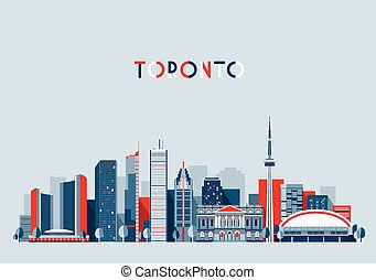 Toronto Canada City Skyline Flat Trendy Vector