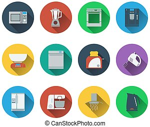 Set of kitchen equipment icons in flat design. EPS 10 vector...