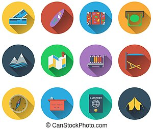 Set of travel icons in flat design EPS 10 vector...