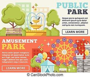 Public park, amusement park flat illustration concepts set....