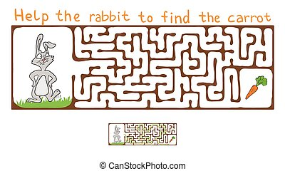 Vector Maze, Labyrinth with Rabbit and Carrot. - Vector...