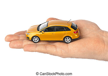 Hand with car