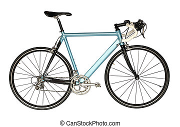 Road bicycle - Sports road bicycle of blue color, isolated...