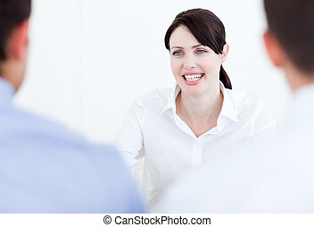 Smiling businesswoman having a job interview in the office