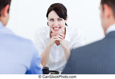 Smiling business people having a job interview in the office