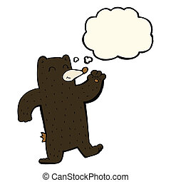 enter - cartoon waving black bear with thought bubble