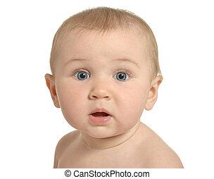 Surprised cute baby - Portrait of beautiful surprised cute...