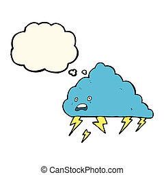 cartoon thundercloud with thought bubble