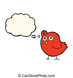 funny cartoon bird with thought bubble