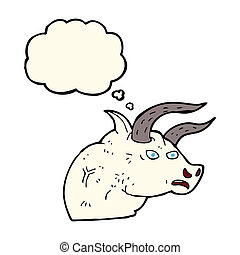 cartoon angry bull head with thought bubble