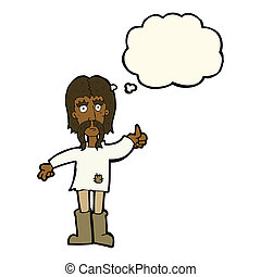 cartoon hippie man giving thumbs up symbol with thought...