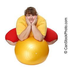 sobrepeso, mujer, Sentado, gimnasio, Pelota