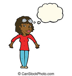 cartoon woman wearing goggles with thought bubble