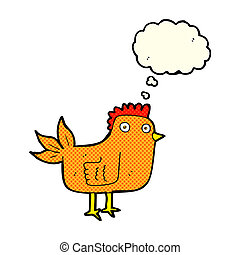 cartoon hen with thought bubble