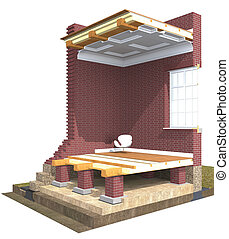 Cross section of brick house 3D architectural visualization...