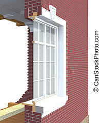 Cross section of wooden window with double glazing in brick...