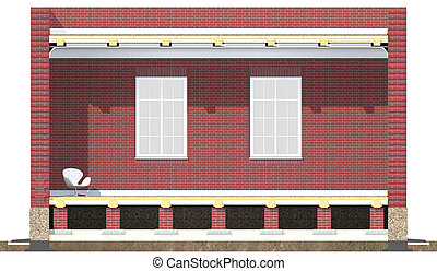 Cross section of brick house Architectural visualization...