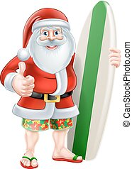 Cartoon Surf Santa - Christmas cartoon of Santa giving a...