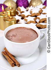 Cup of hot chocolate and christmas cookies - Cup of hot...