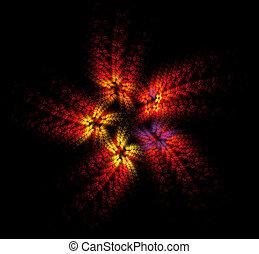 fire flower - five-petal red flower fractal on black...