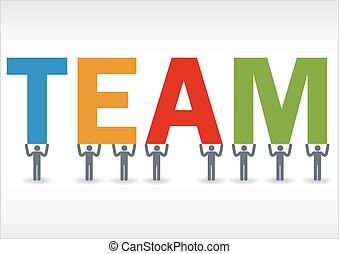 Some people holding the word team