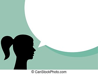 Woman with blank speech bubble