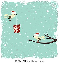 Winter card with birds and gift box