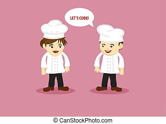 Happy Chef and Kitchen Assistant Vector Cartoon Characters -...
