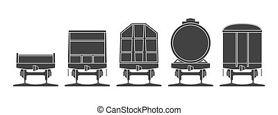 Set of railroad cars.eps - Set of railroad cars isolated on...