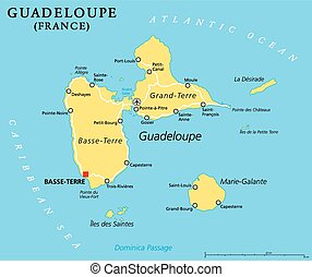 Guadeloupe Political Map with capital Basse-Terre, an...