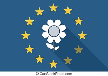 European Union  long shadow flag with a flower