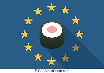 European Union  long shadow flag with a sushi