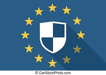 European Union  long shadow flag with a shield