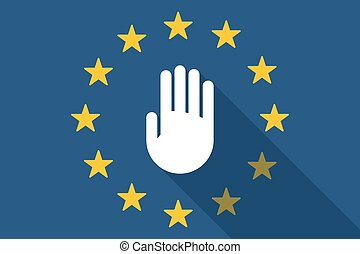 European Union  long shadow flag with a hand
