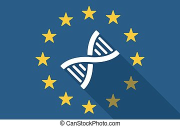European Union long shadow flag with a DNA sig -...