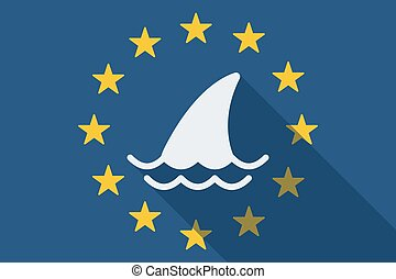 European Union long shadow flag with a shark fin -...